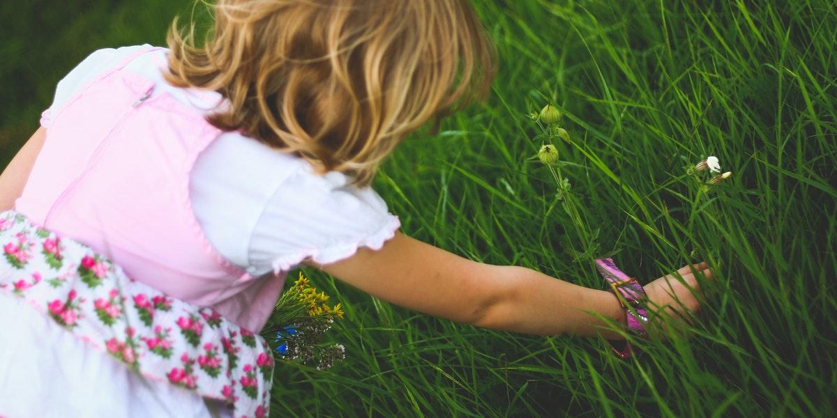 little girl in spring